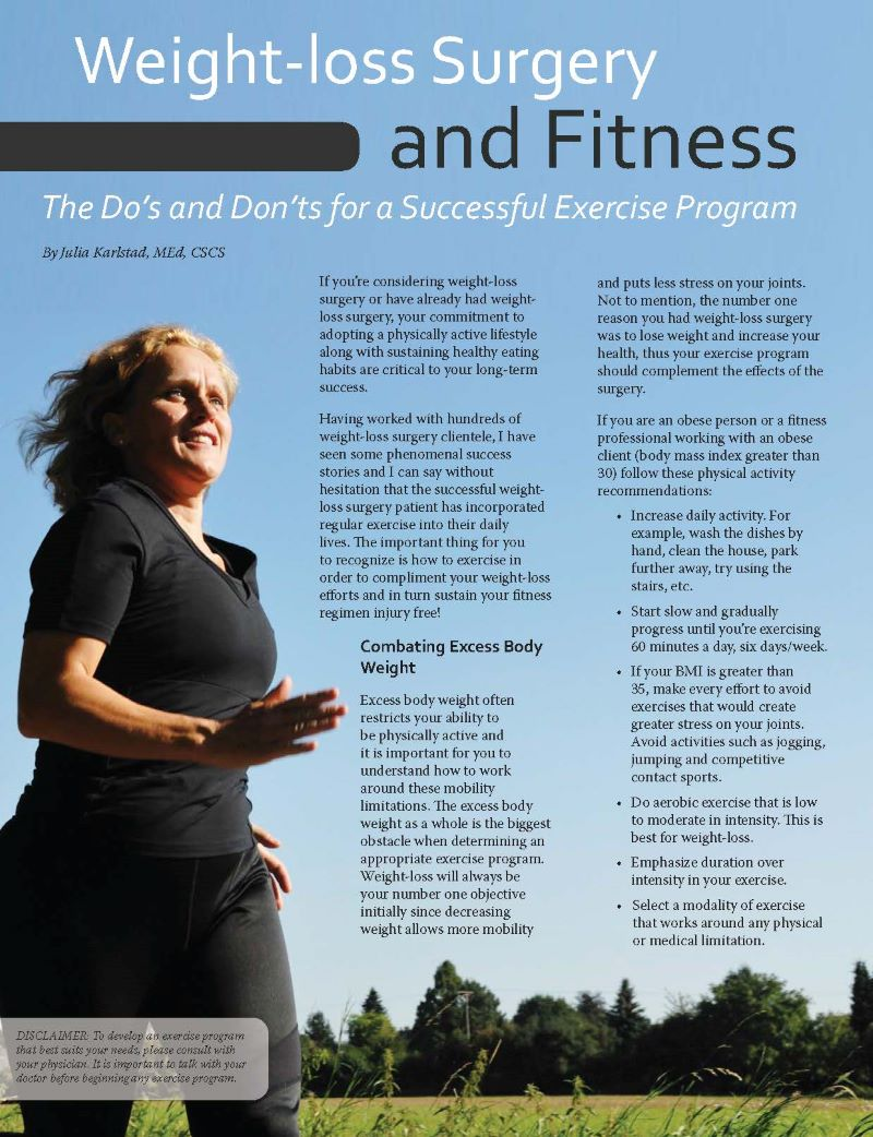 Weight Loss Surgery And Fitness The Do S And Don Ts For A Successful Exercise Program Obesity Action Coalition