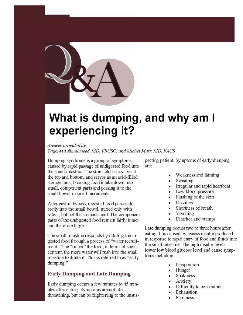 What is dumping, and why am I experiencing it? - Obesity Action Coalition